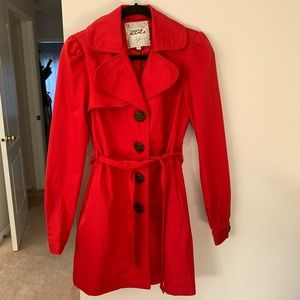 Costa Blanca Red Belted Trench Coat